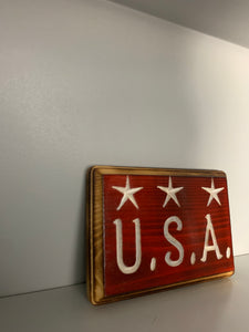 USA Carved Wood Sign - Flags Forever