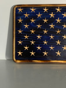 Handmade 50 Star Union with Carved Stars on a Blue Background, Hand Torched Wall Art, Shelf Sitter - Flags Forever