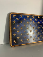 Load image into Gallery viewer, Handmade 50 Star Union with Carved Stars on a Blue Background, Hand Torched Wall Art, Shelf Sitter - Flags Forever