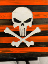 Load image into Gallery viewer, Punisher Skull Handcrafted Wood Flag with Betsy Ross Union Stained in Burnt Orange and Charcoal, Hand Torched, Hand Painted Skull and Stars - Flags Forever