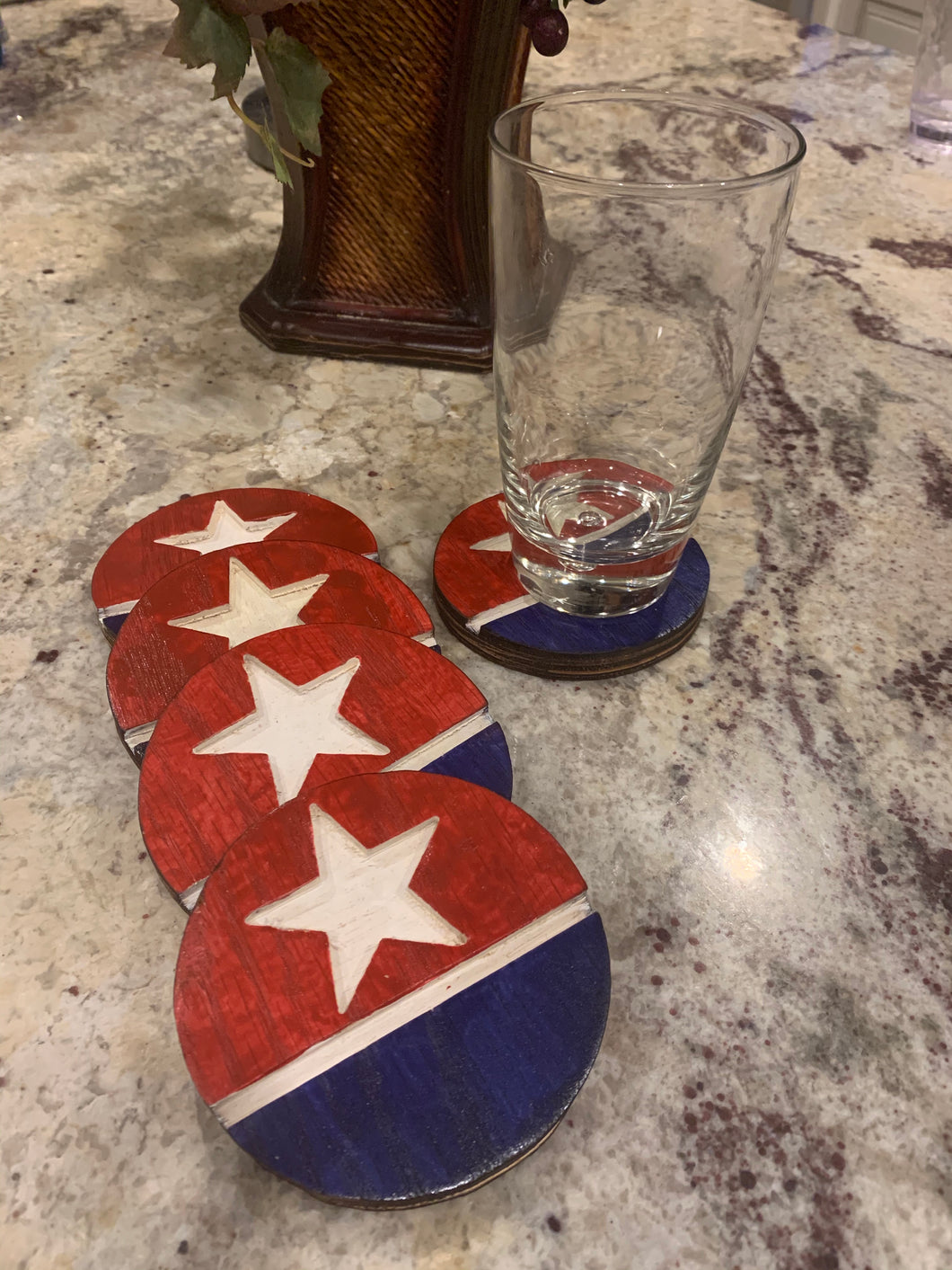 Patriotic Red White and Blue Handmade Wood Coaster Set of 5 - Flags Forever