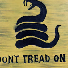 Load image into Gallery viewer, Don't Tread On Me Handmade Wooden Sign, Yellow with Black Timber Rattlesnake Man Cave Wall Hanging - Flags Forever