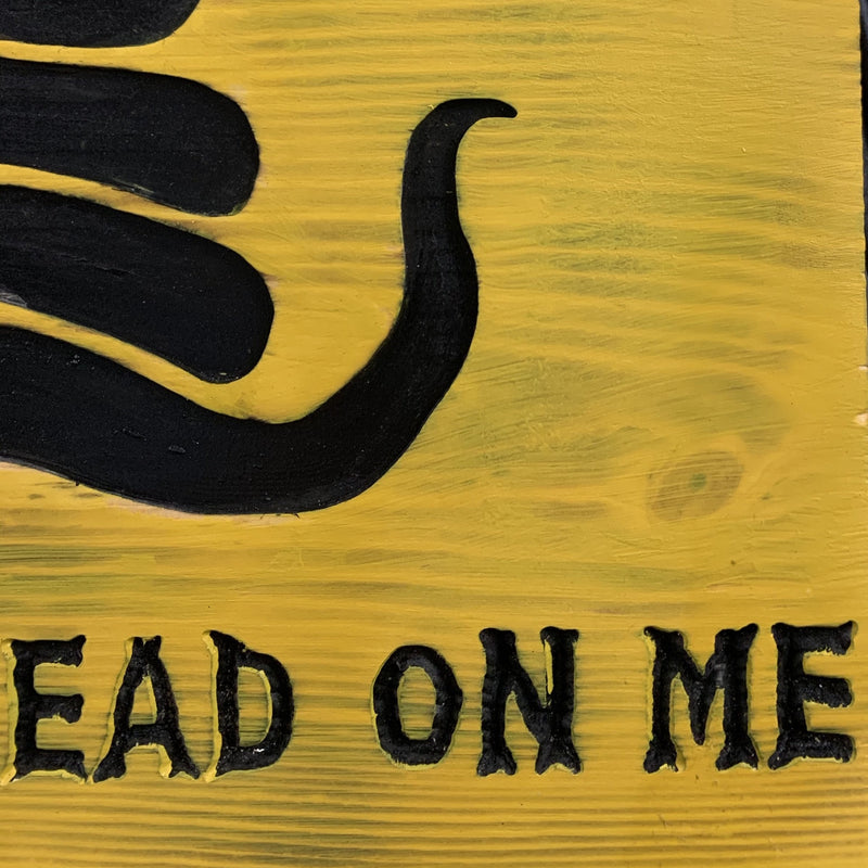 Don't Tread On Me Handmade Wooden Sign, Yellow with Black Timber Rattlesnake Man Cave Wall Hanging - Flags Forever