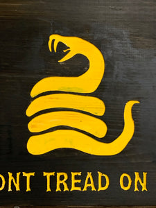 Don't Tread On Me Handmade Wooden Sign, Black with Yellow Timber Rattlesnake Man Cave Wall Hanging Gadsden Flag Union - Flags Forever