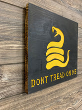 Load image into Gallery viewer, Don't Tread On Me Handmade Wooden Sign, Black with Yellow Timber Rattlesnake Man Cave Wall Hanging Gadsden Flag Union - Flags Forever