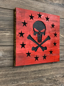 Punisher Skull Handmade Wooden Betsy Ross Union, Red with Black Stars and Skull, Torched Rustic Wood Sign - Flags Forever