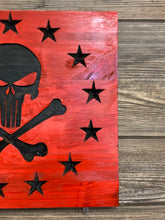 Load image into Gallery viewer, Punisher Skull Handmade Wooden Betsy Ross Union, Red with Black Stars and Skull, Torched Rustic Wood Sign - Flags Forever
