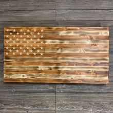 Load image into Gallery viewer, Large Handcrafted Rustic Wood Flag, Torched and Stained with a Natural Pecan Finish, Handmade American Flag Wall Art - Flags Forever