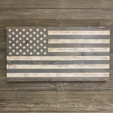 Load image into Gallery viewer, Gorgeous Greyscale Large Handmade Wooden American Flag with 50 Carved Stars, Hand Stained and Torched Patriotic Indoor/Outdoor Wall Art - Flags Forever
