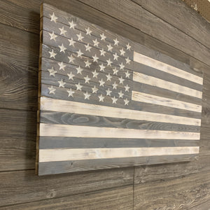 Gorgeous Greyscale Large Handmade Wooden American Flag with 50 Carved Stars, Hand Stained and Torched Patriotic Indoor/Outdoor Wall Art - Flags Forever