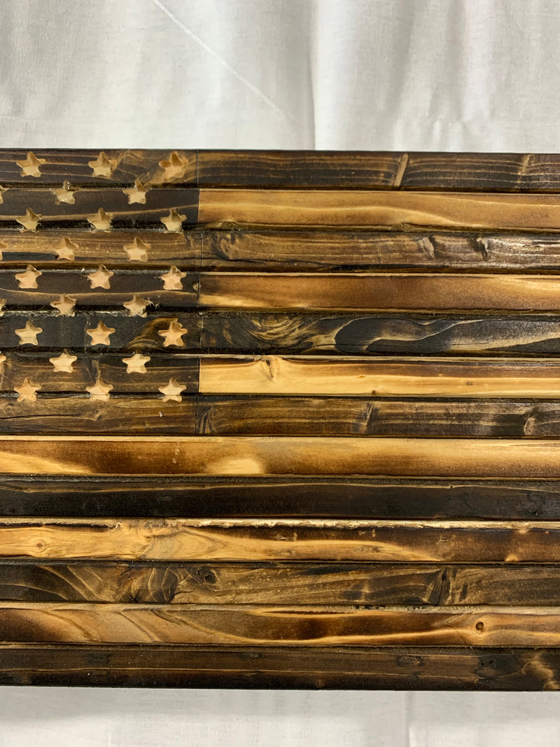 Subdued Rustic Handmade Wood Flag, Natural Finish, Hand Carved 50 Star Union - Flags Forever