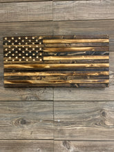 Load image into Gallery viewer, Subdued Rustic Handmade Wood Flag, Natural Finish, Hand Carved 50 Star Union - Flags Forever