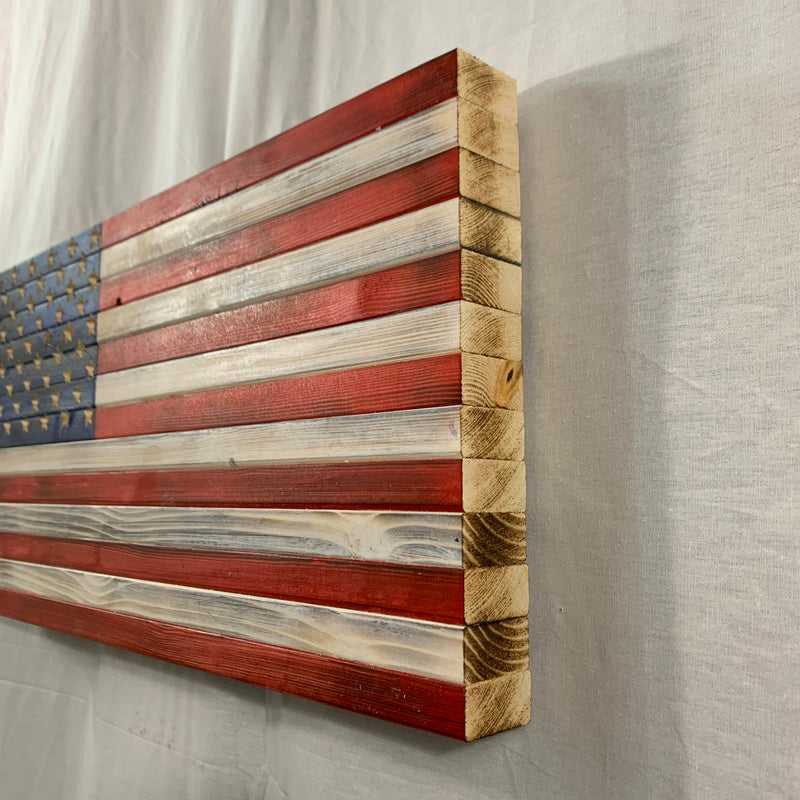 Handmade Wooden American Flag, Red White and Blue Indoor or Outdoor Patriotic Wall Art
