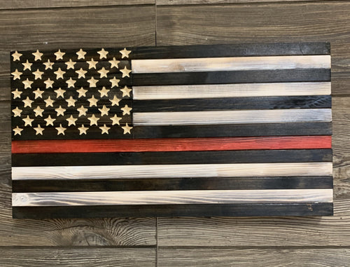 Thin Red Line Handmade Wooden Flag, 50 Star Carved Union Black and White with Red Line , Support Our Brave Firefighters - Flags Forever