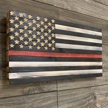 Load image into Gallery viewer, Thin Red Line Handmade Wooden Flag, 50 Star Carved Union Black and White with Red Line , Support Our Brave Firefighters - Flags Forever