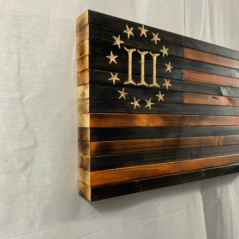 Handcrafted Rustic Wooden 3 Percent American Flag, Finished in Pecan and Charcoal with 13 Stars, Roman Numeral III Union Hanging Wall Art - Flags Forever
