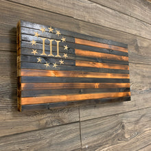 Load image into Gallery viewer, Handcrafted Rustic Wooden 3 Percent American Flag, Finished in Pecan and Charcoal with 13 Stars, Roman Numeral III Union Hanging Wall Art - Flags Forever