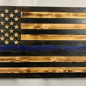 Thin Blue Line Rustic Handmade Wooden American Flag with Carved 50 Star Union