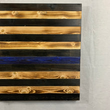 Load image into Gallery viewer, Thin Blue Line Rustic Handmade Wooden American Flag with Carved 50 Star Union