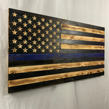 Load image into Gallery viewer, Thin Blue Line Rustic Handmade Wooden American Flag Carved 50 Star Union