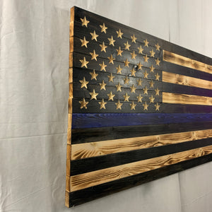 Thin Blue Line Rustic Handmade Wooden American Flag Carved 50 Star Union