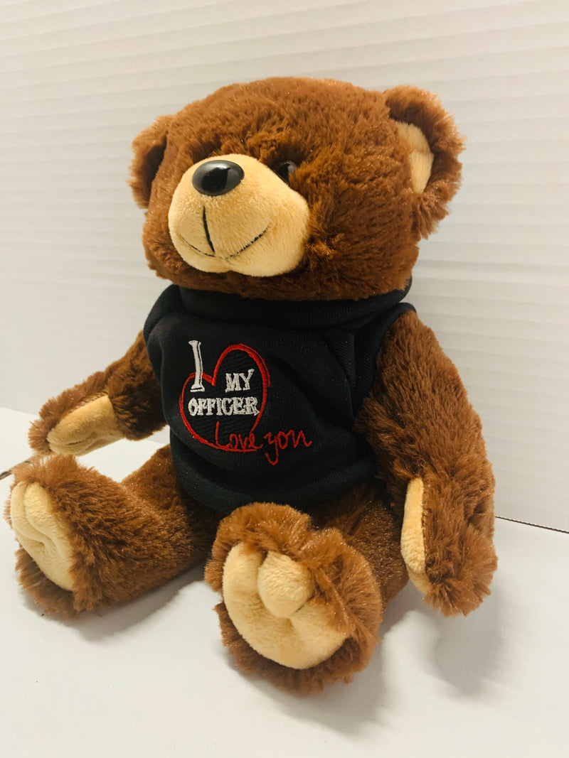 I Love My Officer Brown Plush Bear with Embroidered Sweater - Flags Forever