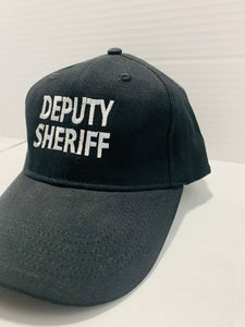 Deputy Sheriff Logo Black with Raised White Lettering Embroidered Cap - Flags Forever