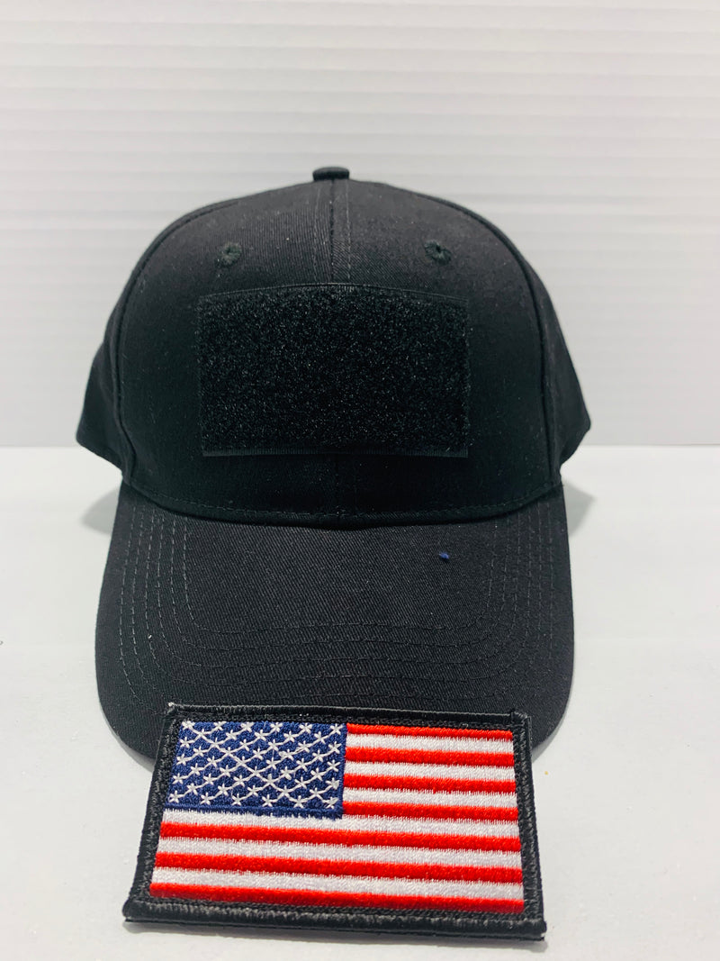 Tactical Black Ball Cap Style Hat with Moral Patch Velcro Area - Flags Forever
