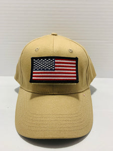 Tactical Khaki Ball Cap Style Hat with Moral Patch Velcro Area - Flags Forever