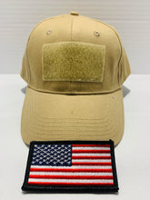 Load image into Gallery viewer, Tactical Khaki Ball Cap Style Hat with Moral Patch Velcro Area - Flags Forever