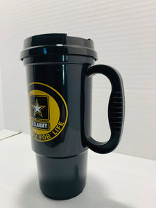 Official U.S. Army Soldier For Life High Strength Plastic Tumbler with Lid - Flags Forever