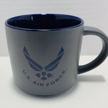 Load image into Gallery viewer, Official U.S. Air Force 16 Oz Grey and Blue Stoneware Mug with Air Force Crest - Flags Forever