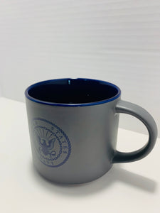 Official U.S. Navy 16 Oz Grey and Blue Stoneware Mug with United States Navy Logo - Flags Forever