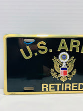 Load image into Gallery viewer, Official U.S. Army Retired Gold On Black Lettering With Army Crest License Plate - Flags Forever