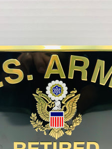 Official U.S. Army Retired Gold On Black Lettering With Army Crest License Plate - Flags Forever
