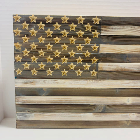 Small Greyscale Grey and White Handmade American Flag with 50 Stars. Americana Wall Art - Flags Forever