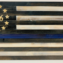 Load image into Gallery viewer, Thin Blue Line Flag with Carved 1776 Betsy Ross Union Handcrafted USA Wooden Flag, Indoor Outdoor Hanging Wall Art - Flags Forever