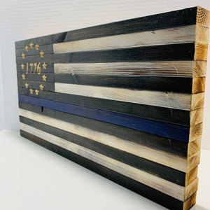 Thin Blue Line Flag with Carved 1776 Betsy Ross Union Handcrafted USA Wooden Flag, Indoor Outdoor Hanging Wall Art - Flags Forever