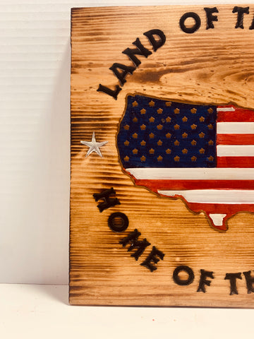 Land Of The Free Home Of The Brave Handmade Patriotic Wood Sign, Stained Golden Oak with Carved and Stained USA Silhouette - Flags Forever
