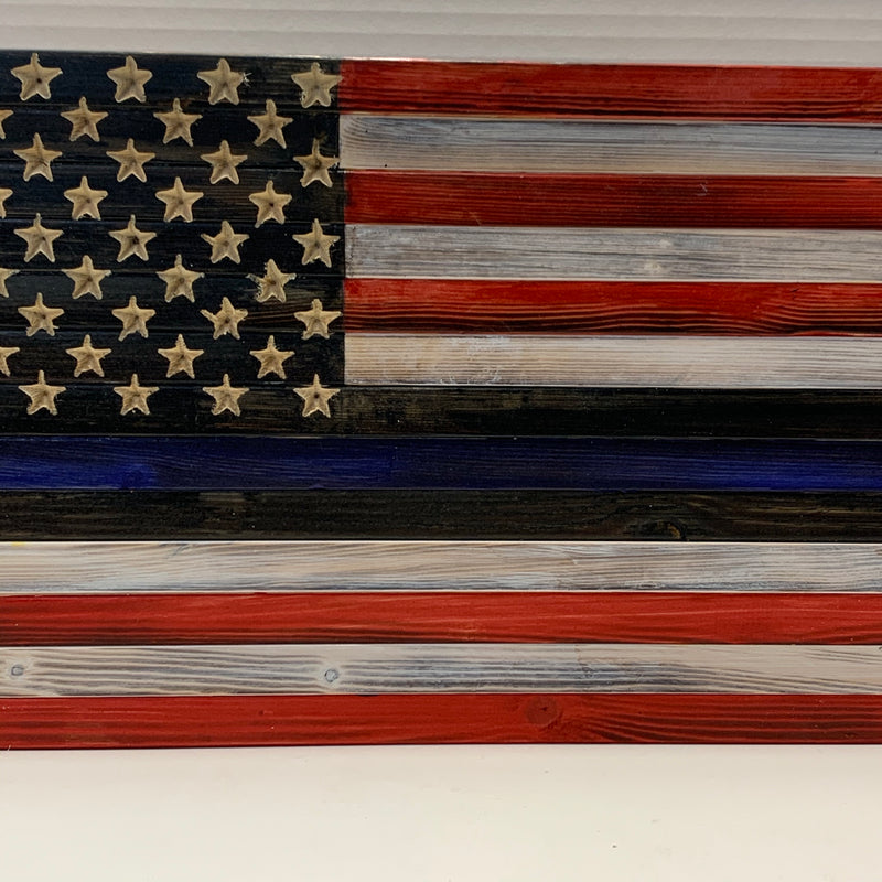 Thin Blue Line Flag with Red and White Stripes and Carved 50 Star Union, Handmade Wooden Wall Hanging - Flags Forever