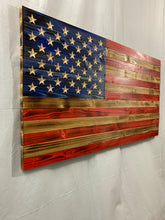 Load image into Gallery viewer, Handmade Large Rustic Wooden American Flag with 50 Star Carved Union Indoor/Outdoor Americana Wall Art