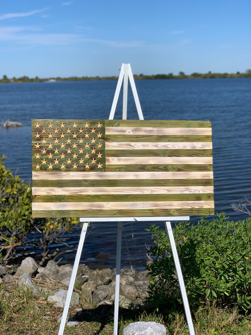 Rustic Coastal Green and White Handmade Rustic Wooden American Flag Indoor Outdoor Wall Art