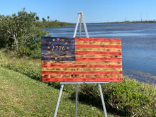 Load image into Gallery viewer, Rustic Betsy Ross 1776 Handmade Wooden American Flag Indoor Outdoor Patriotic Wall Art