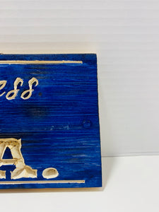 God Bless The USA Handmade Wooden Sign Blue with Carved Natural Pine Letters