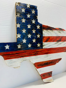 State of Texas Handmade Wooden Flag Red White and Blue Indoor/Outdoor Patriotic Wall Art