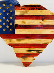 Handmade State of South Carolina Rustic Wooden American Flag  Indoor/Outdoor Patriotic Wall Art