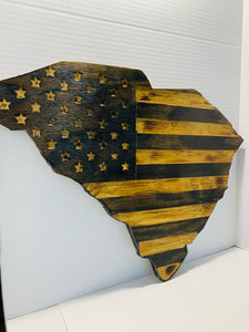State of South Carolina Rustic Subdued American Flag Handmade Patriotic Wall Hanging