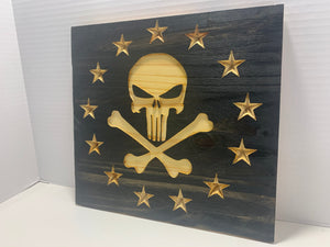 Punisher Skull Handmade Wooden Betsy Ross Union, Black with Natural Wood Stars and Skull