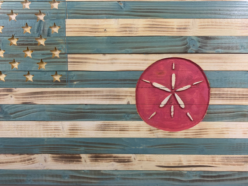 Life's a Beach Wooden Flag with Carved Sand Dollar and 50 Star Union Indoor/Outdoor Coastal Wall Art