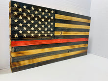 Load image into Gallery viewer, Handmade Rustic Thin Red Line Wooden American Flag with 50 Star Carved Union to Support Firefighters Indoor/Outdoor Wall Art